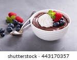 chocolate pudding with whipped... | Shutterstock . vector #443170357