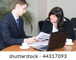 business team at meeting led by ... | Shutterstock . vector #44317093