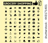 grocery shopping icons | Shutterstock .eps vector #443171401