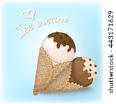 vanilla and chocolate ice cream ... | Shutterstock .eps vector #443171629