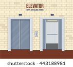 elevator doors  open and close. ... | Shutterstock .eps vector #443188981