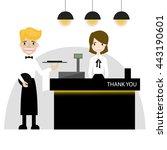 restaurant cashier flat design... | Shutterstock .eps vector #443190601