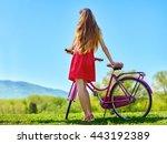 Bikes Bicycle Girl. Teenager...