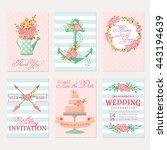 set of wedding invitations.... | Shutterstock .eps vector #443194639