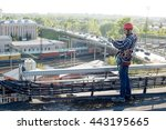quality control. worker... | Shutterstock . vector #443195665