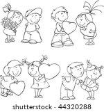 vector set of funny valentine...   Shutterstock .eps vector #44320288