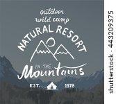 mountains hand drawn sketch...   Shutterstock . vector #443209375