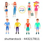 detailed people character.... | Shutterstock .eps vector #443217811