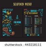 vector modern seafood menu... | Shutterstock .eps vector #443218111