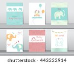 set of baby shower invitation... | Shutterstock .eps vector #443222914