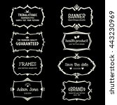doodle vector frame set.ethnic... | Shutterstock .eps vector #443230969