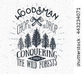 lumberjack vintage label with... | Shutterstock . vector #443234071