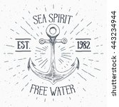 hand drawn sketched anchor ... | Shutterstock . vector #443234944
