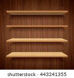 wood bookshelves on brown wood... | Shutterstock .eps vector #443241355