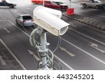 cctv security camera or... | Shutterstock . vector #443245201