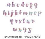 lower case alphabet set purple... | Shutterstock . vector #443247649