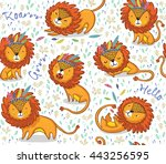Funny Lions Seamless Vector...