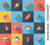 chinese new year icons set | Shutterstock .eps vector #443256859