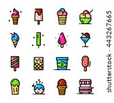 thin line ice cream icons set ...