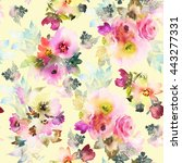 seamless pattern with flowers... | Shutterstock . vector #443277331
