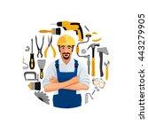 man standing folded hands ... | Shutterstock .eps vector #443279905