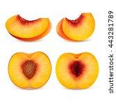 set ripe slice peaches. fruits... | Shutterstock .eps vector #443281789