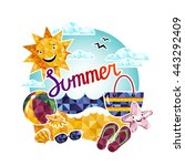 summer time vector background... | Shutterstock .eps vector #443292409