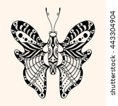 hand drawn ornamental butterfly ... | Shutterstock .eps vector #443304904