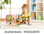 preschooler child playing with... | Shutterstock . vector #443310055