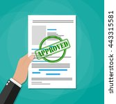 hand holds approved paper... | Shutterstock .eps vector #443315581