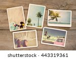 Photo album remembrance and nostalgia journey in summer surfing beach trip on wood table. instant photo of vintage camera - vintage and retro style - stock photo