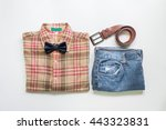 men's casual outfits with jeans ... | Shutterstock . vector #443323831