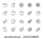 vector fruits icon set in thin...