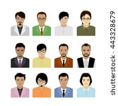 asian man avatar. faces and... | Shutterstock .eps vector #443328679