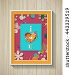 love scrapbooking elements in... | Shutterstock .eps vector #443329519