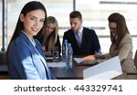 business woman with her staff ... | Shutterstock . vector #443329741