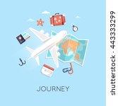 travel by plane. world... | Shutterstock .eps vector #443333299
