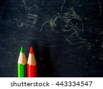row of colorful pencils on... | Shutterstock . vector #443334547