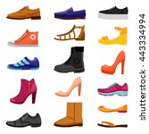 footwear flat colored icons set ... | Shutterstock .eps vector #443334994