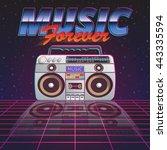 music forever poster with retro ... | Shutterstock .eps vector #443335594