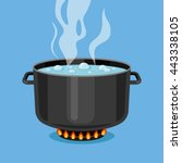 boiling water in pan. black... | Shutterstock .eps vector #443338105