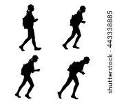 set of four silhouettes   girl  ... | Shutterstock .eps vector #443338885