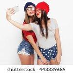 two teenage girls friends in...   Shutterstock . vector #443339689