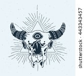abstract triangle with bull... | Shutterstock .eps vector #443343457