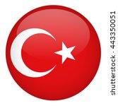 turkey flag button | Shutterstock .eps vector #443350051