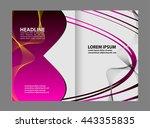 abstract wavy bi fold brochure... | Shutterstock .eps vector #443355835