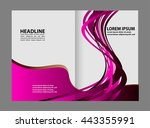 vector empty bi fold brochure... | Shutterstock .eps vector #443355991