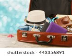 packed vintage suitcase for... | Shutterstock . vector #443356891