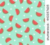 seamless watermelon pattern.... | Shutterstock .eps vector #443357605