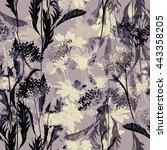 imprints of flowers and herbs.... | Shutterstock . vector #443358205